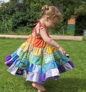 vegbee rainbow patch twirly dress